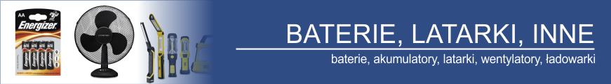 Baterie, akumulatorki, latarki, ładowarki, akumulatory żelowe, wentylatory